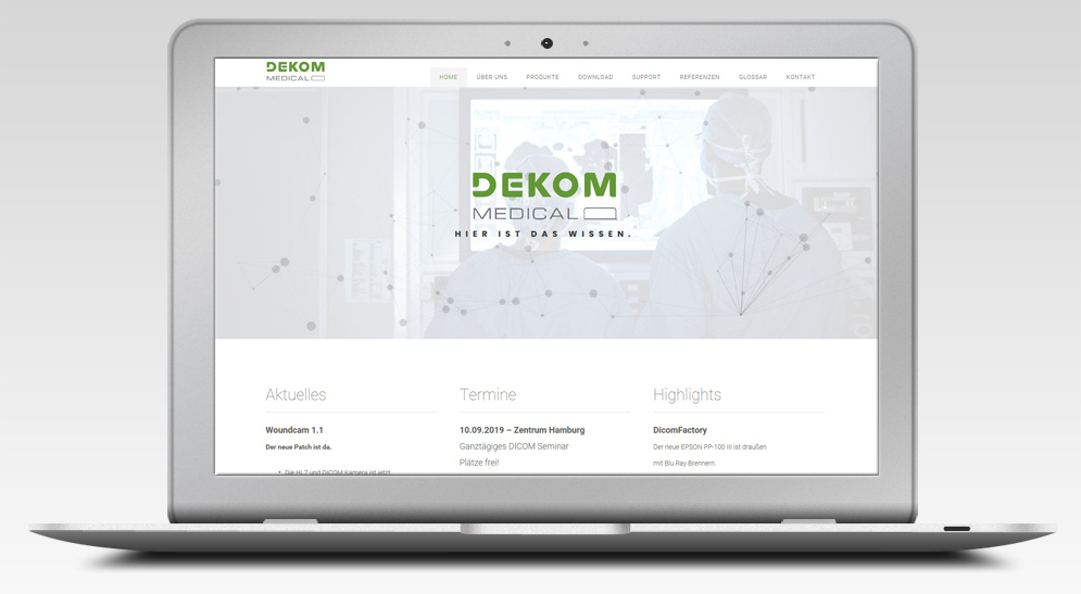 Kreativ DEKOM MEDICAL neues Layout in kooperation mit Agenturen.